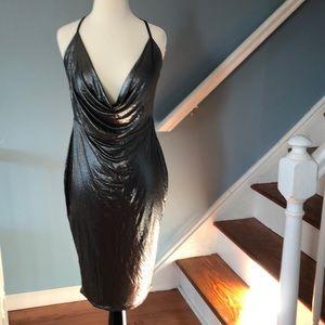 Boohoo Women's Pearl Metallic Strappy Cowl Dress